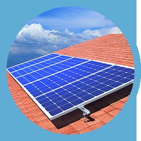 Solar panels on shingle roof